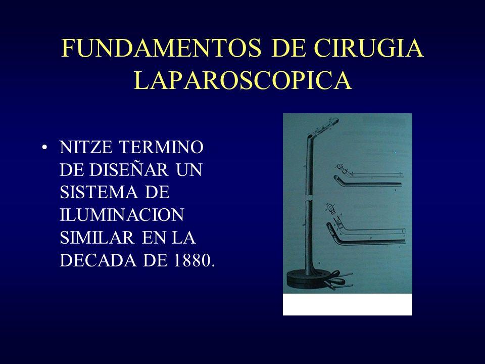 FUNDAMENTOS DE CIRUGIA LAPAROSCOPICA NITZE TERMINO DE DISEÑAR UN SISTEMA DE ILUMINACION SIMILAR EN LA DECADA DE 1880.