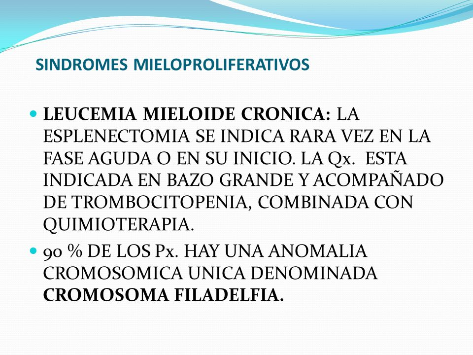 SINDROMES MIELOPROLIFERATIVOS LEUCEMIA MIELOIDE CRONICA: LA ESPLENECTOMIA SE INDICA RARA VEZ EN LA FASE AGUDA O EN SU INICIO. LA Qx. ESTA INDICADA EN