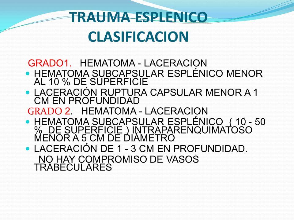 TRAUMA ESPLENICO CLASIFICACION GRADO1. HEMATOMA - LACERACION HEMATOMA SUBCAPSULAR ESPLÉNICO MENOR AL 10 % DE SUPERFICIE LACERACIÓN RUPTURA CAPSULAR ME