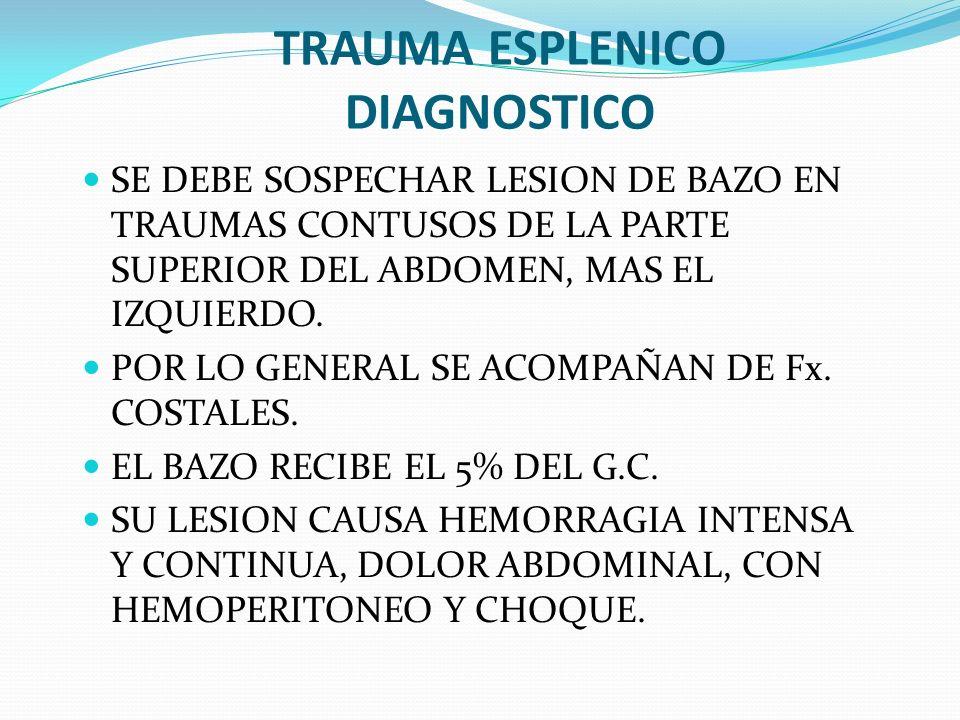 TRAUMA ESPLENICO DIAGNOSTICO SE DEBE SOSPECHAR LESION DE BAZO EN TRAUMAS CONTUSOS DE LA PARTE SUPERIOR DEL ABDOMEN, MAS EL IZQUIERDO. POR LO GENERAL S