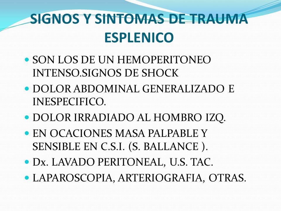 SIGNOS Y SINTOMAS DE TRAUMA ESPLENICO SON LOS DE UN HEMOPERITONEO INTENSO.SIGNOS DE SHOCK DOLOR ABDOMINAL GENERALIZADO E INESPECIFICO. DOLOR IRRADIADO