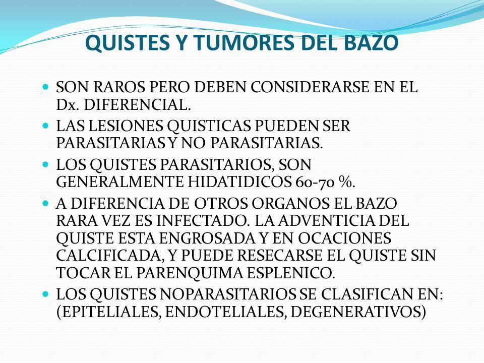 QUISTES Y TUMORES DEL BAZO SON RAROS PERO DEBEN CONSIDERARSE EN EL Dx. DIFERENCIAL. LAS LESIONES QUISTICAS PUEDEN SER PARASITARIAS Y NO PARASITARIAS.