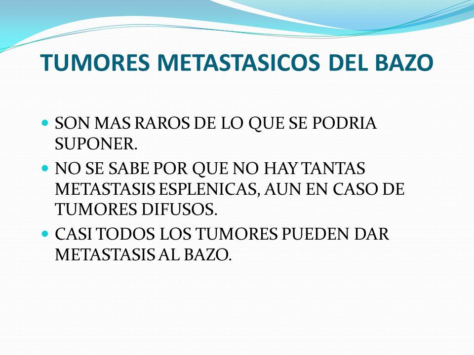 TUMORES METASTASICOS DEL BAZO SON MAS RAROS DE LO QUE SE PODRIA SUPONER. NO SE SABE POR QUE NO HAY TANTAS METASTASIS ESPLENICAS, AUN EN CASO DE TUMORE