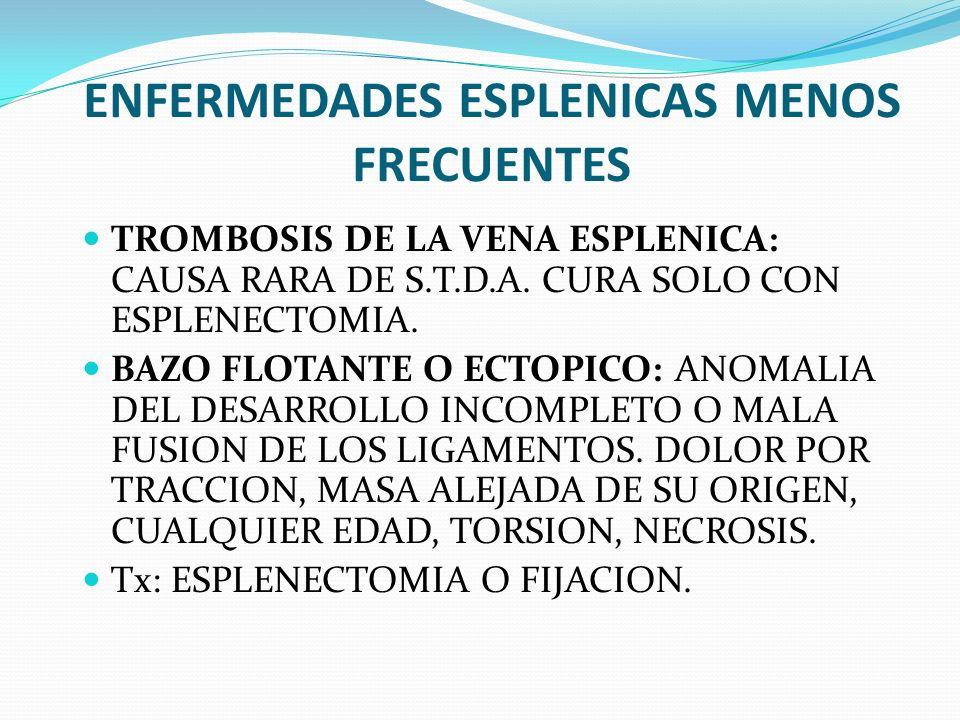 ENFERMEDADES ESPLENICAS MENOS FRECUENTES TROMBOSIS DE LA VENA ESPLENICA: CAUSA RARA DE S.T.D.A. CURA SOLO CON ESPLENECTOMIA. BAZO FLOTANTE O ECTOPICO: