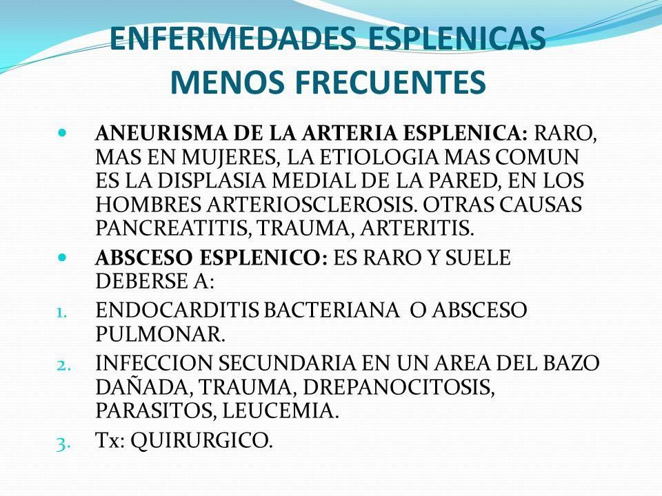 ENFERMEDADES ESPLENICAS MENOS FRECUENTES ANEURISMA DE LA ARTERIA ESPLENICA: RARO, MAS EN MUJERES, LA ETIOLOGIA MAS COMUN ES LA DISPLASIA MEDIAL DE LA