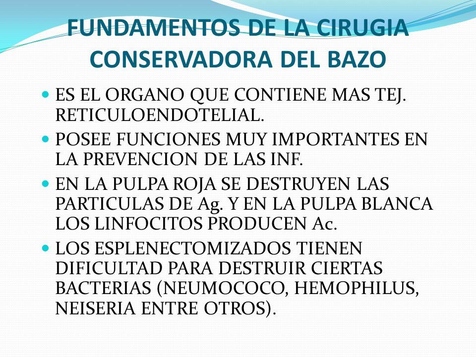 FUNDAMENTOS DE LA CIRUGIA CONSERVADORA DEL BAZO ES EL ORGANO QUE CONTIENE MAS TEJ. RETICULOENDOTELIAL. POSEE FUNCIONES MUY IMPORTANTES EN LA PREVENCIO