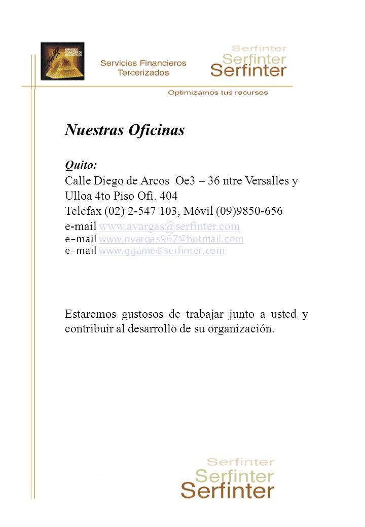 Nuestras Oficinas Quito: Calle Diego de Arcos Oe3 – 36 ntre Versalles y Ulloa 4to Piso Ofi. 404 Telefax (02) 2-547 103, Móvil (09)9850-656 e-mail www.