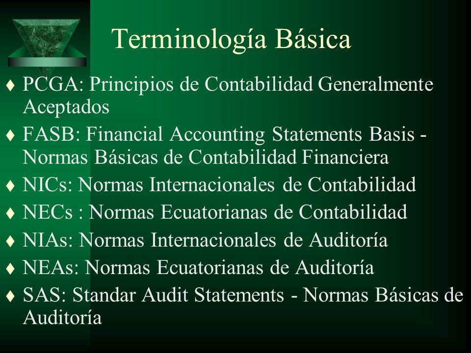 Terminología Básica t PCGA: Principios de Contabilidad Generalmente Aceptados t FASB: Financial Accounting Statements Basis - Normas Básicas de Contabilidad Financiera t NICs: Normas Internacionales de Contabilidad t NECs : Normas Ecuatorianas de Contabilidad t NIAs: Normas Internacionales de Auditoría t NEAs: Normas Ecuatorianas de Auditoría t SAS: Standar Audit Statements - Normas Básicas de Auditoría