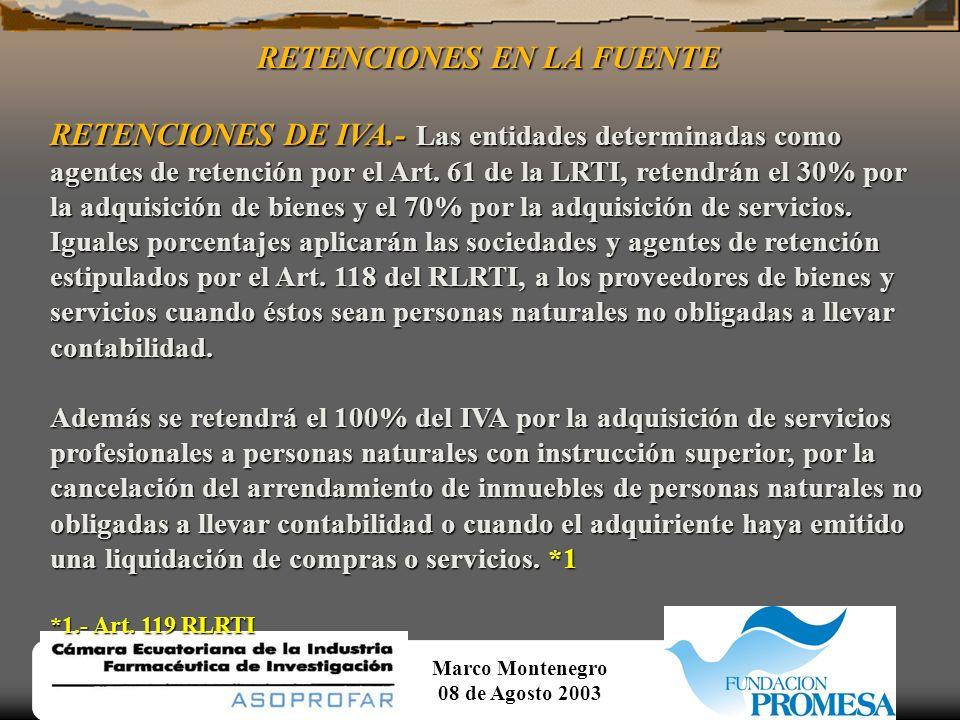 Marco Montenegro 08 de Agosto 2003 SERVICIOS GRAVADOS CON TARIFA 0% Continuación... 13.- La transferencia de títulos valores;... 14.- Los que se expor