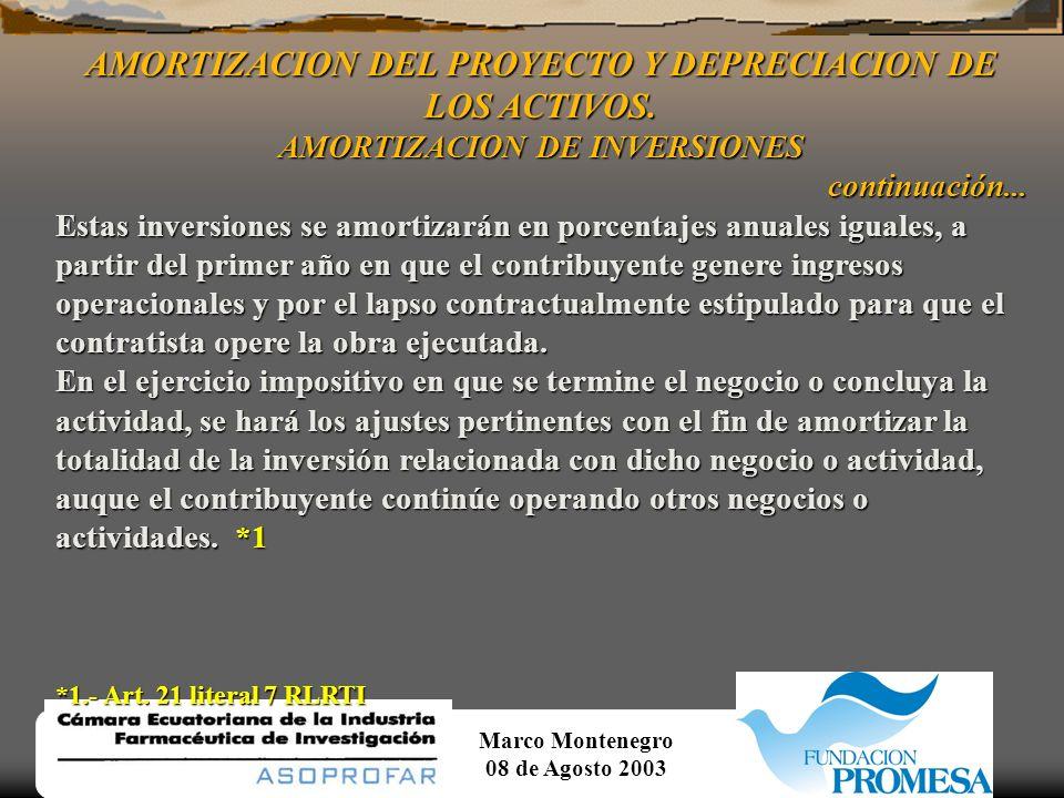 Marco Montenegro 08 de Agosto 2003 AMORTIZACION DEL PROYECTO Y DEPRECIACION DE LOS ACTIVOS. AMORTIZACION DE INVERSIONES continuación...... experimenta