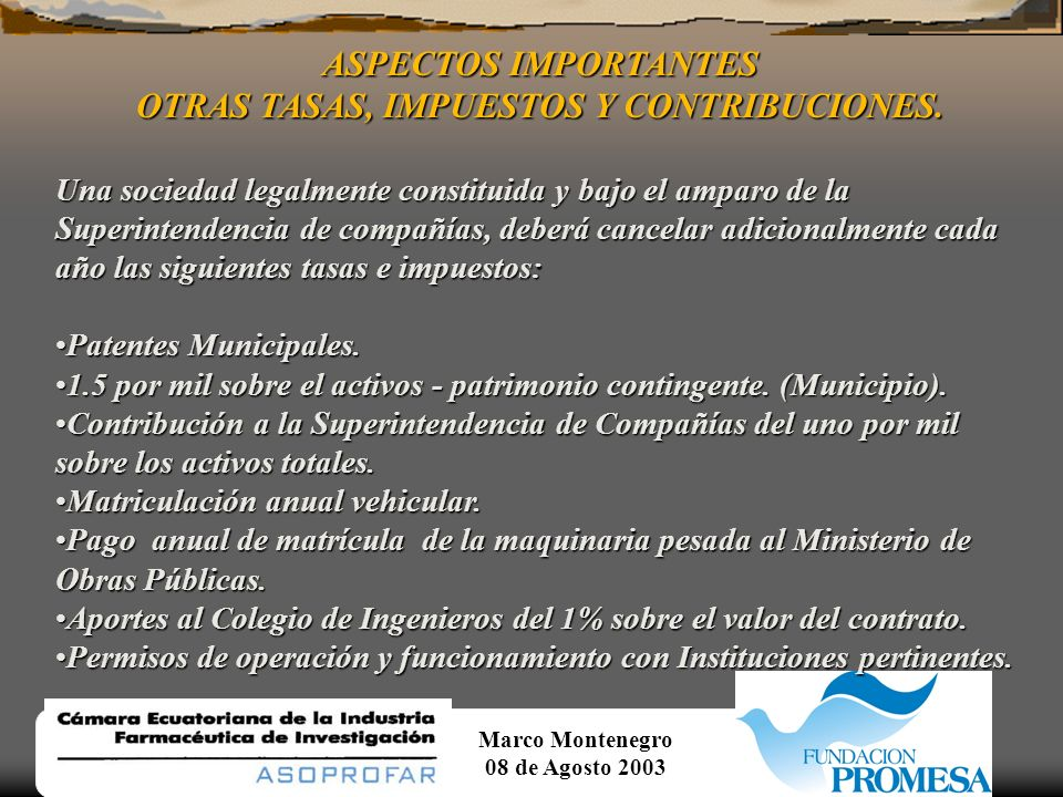 Marco Montenegro 08 de Agosto 2003 AMORTIZACION DEL PROYECTO Y DEPRECIACION DE LOS ACTIVOS. DEPRECIACION DE ACTIVOS continuación......Mediante este ré