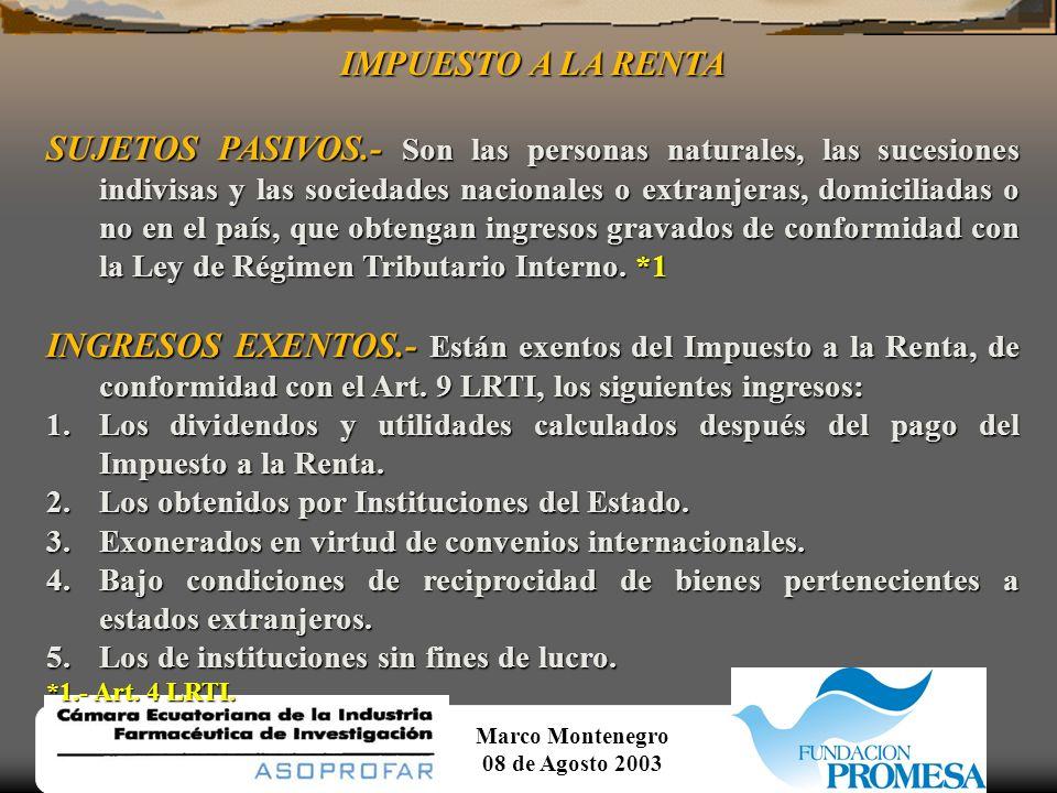 Marco Montenegro 08 de Agosto 2003 SERVICIOS GRAVADOS CON TARIFA 0% Continuación...