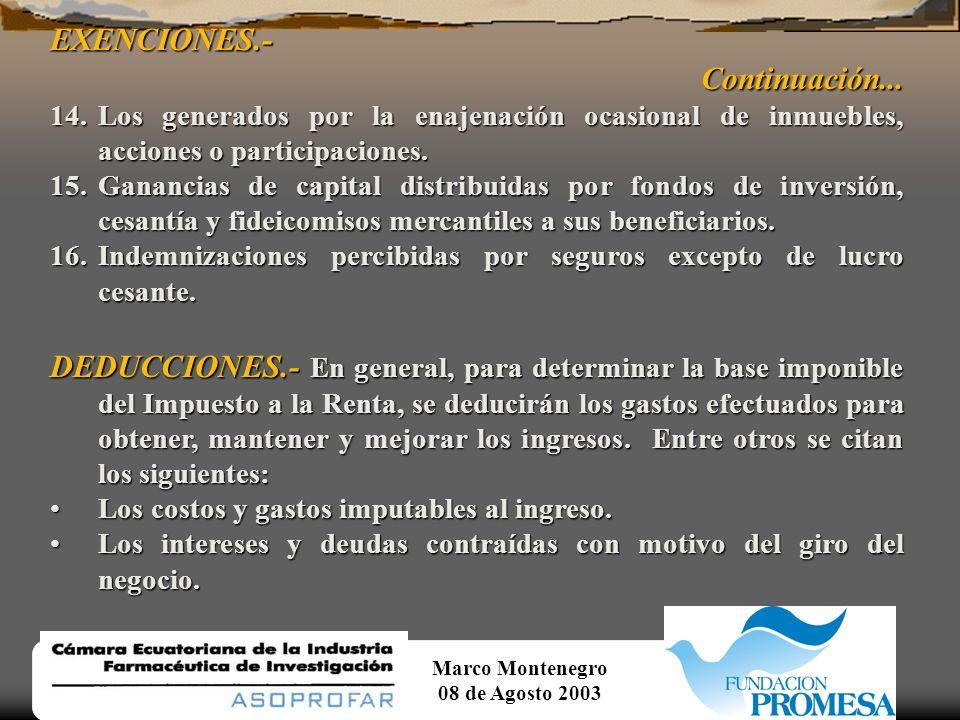Marco Montenegro 08 de Agosto 2003EXENCIONES.-Continuación... 6.Los intereses obtenidos por personas naturales por sus depósitos de ahorro a la vista.