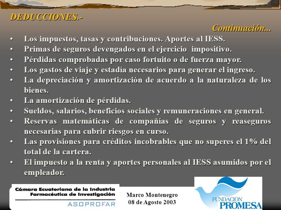 Marco Montenegro 08 de Agosto 2003 EXENCIONES.-Continuación...