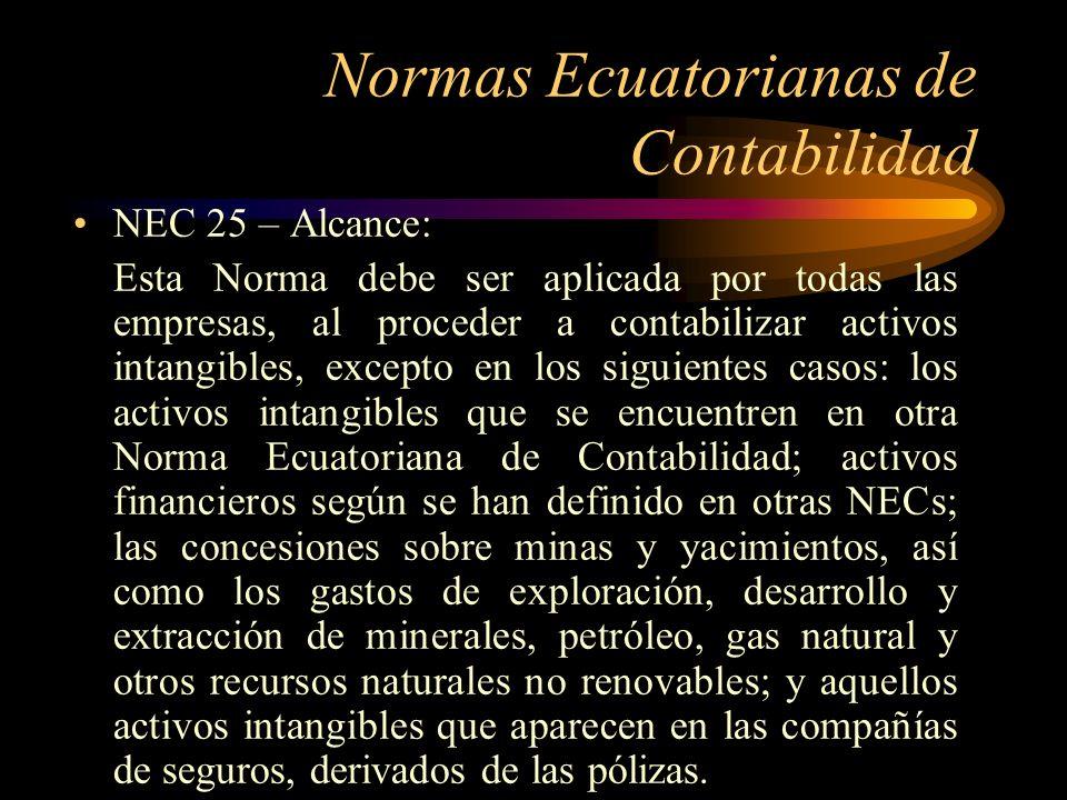 Normas Ecuatorianas de Contabilidad NEC 25 – Alcance: Esta Norma debe ser aplicada por todas las empresas, al proceder a contabilizar activos intangib
