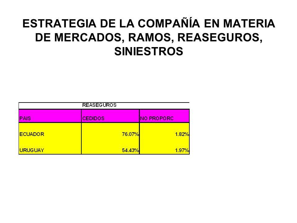 ESTRATEGIA DE LA COMPAÑÍA EN MATERIA DE MERCADOS, RAMOS, REASEGUROS, SINIESTROS