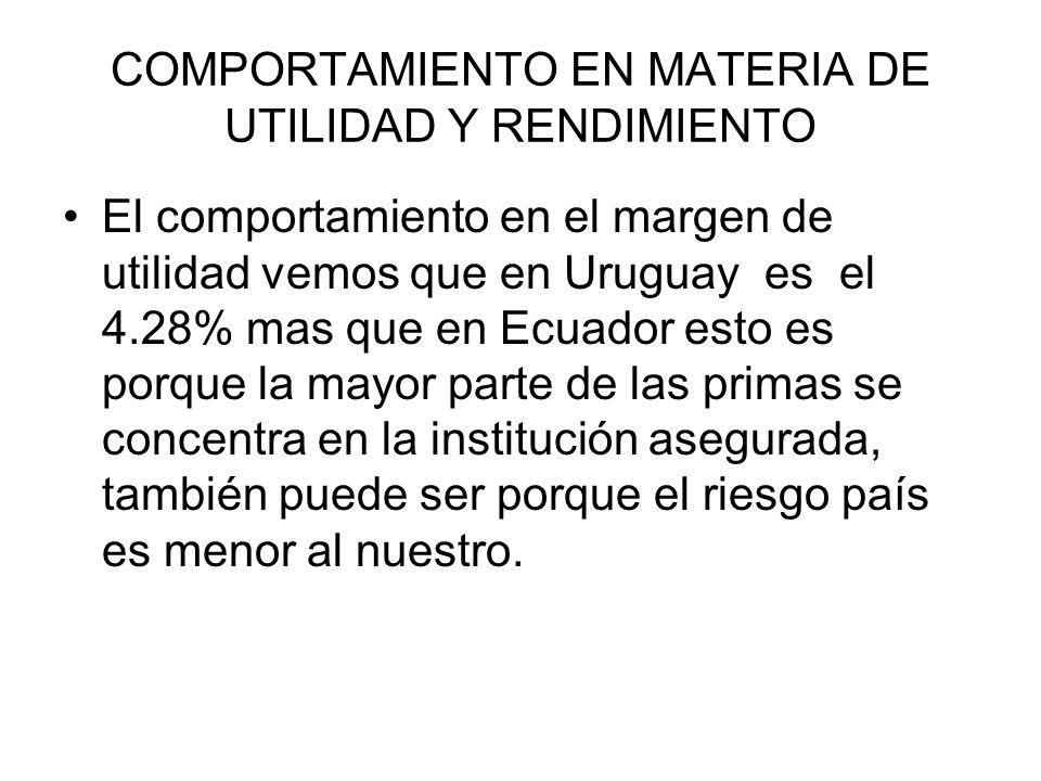 El comportamiento en el margen de utilidad vemos que en Uruguay es el 4.28% mas que en Ecuador esto es porque la mayor parte de las primas se concentr