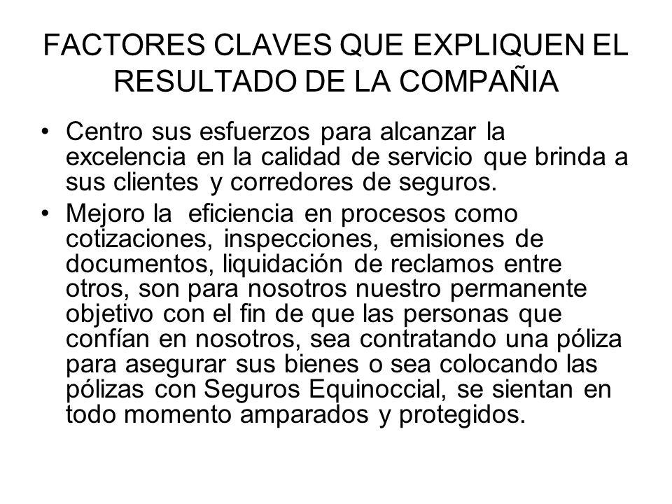 FACTORES CLAVES QUE EXPLIQUEN EL RESULTADO DE LA COMPAÑIA Centro sus esfuerzos para alcanzar la excelencia en la calidad de servicio que brinda a sus