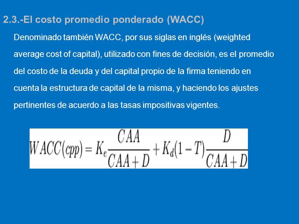 Denominado también WACC, por sus siglas en inglés (weighted average cost of capital), utilizado con fines de decisión, es el promedio del costo de la