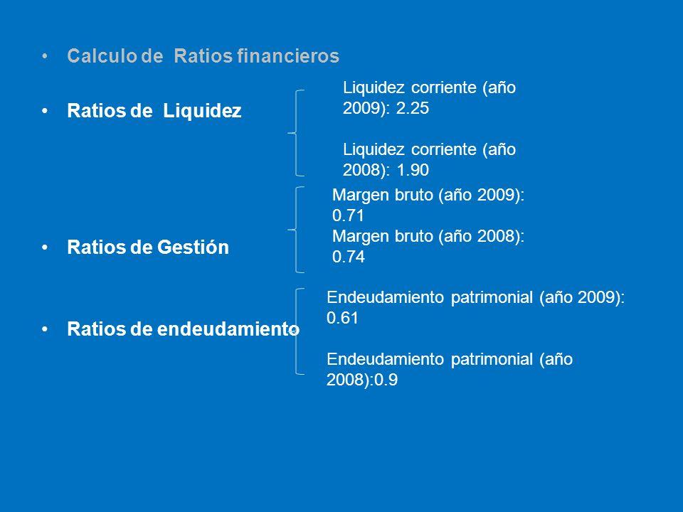 Calculo de Ratios financieros Ratios de Liquidez Ratios de Gestión Ratios de endeudamiento Liquidez corriente (año 2009): 2.25 Liquidez corriente (año