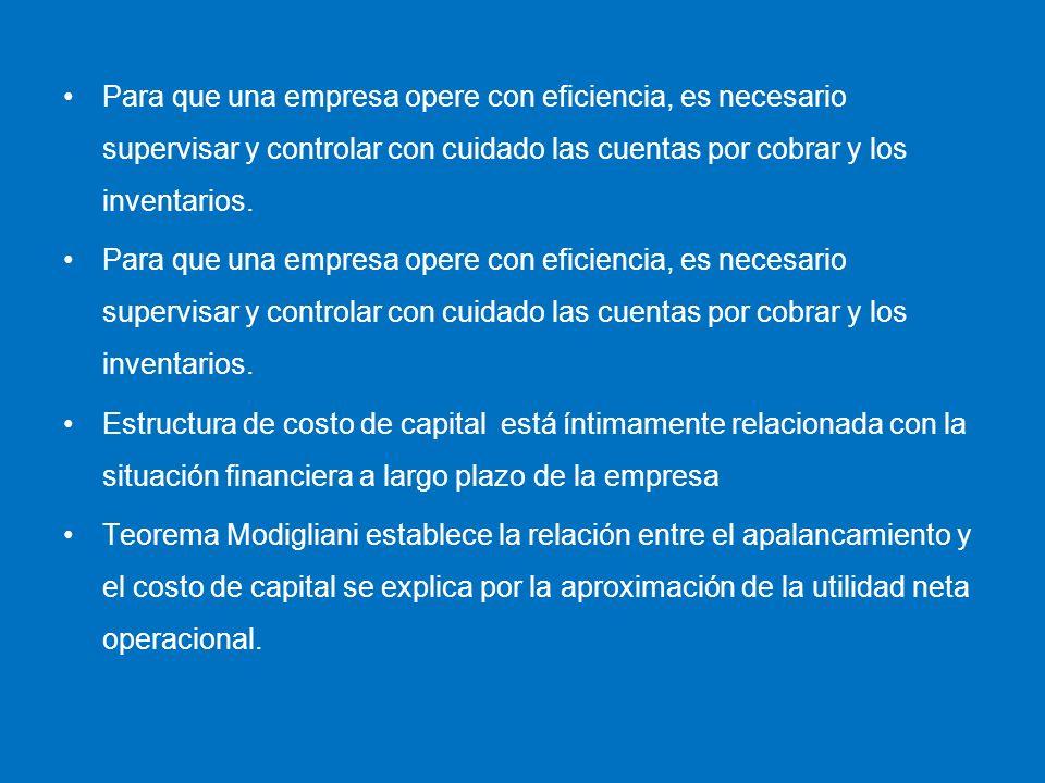 Para que una empresa opere con eficiencia, es necesario supervisar y controlar con cuidado las cuentas por cobrar y los inventarios. Estructura de cos