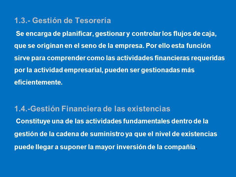 1.3.- Gestión de Tesorería Se encarga de planificar, gestionar y controlar los flujos de caja, que se originan en el seno de la empresa. Por ello esta
