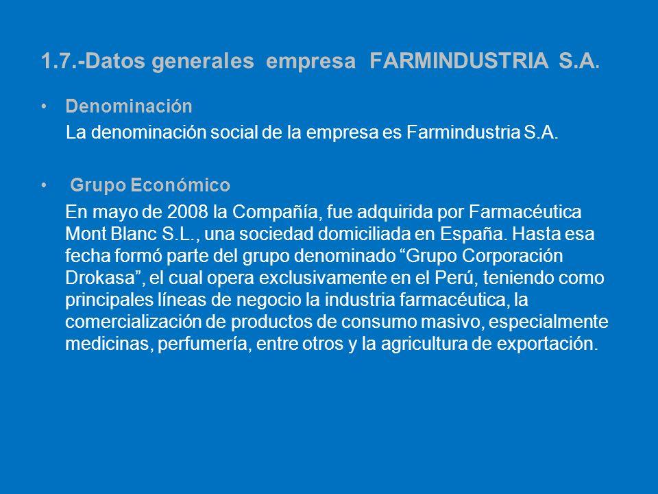 1.7.-Datos generales empresaFARMINDUSTRIA S.A. Denominación La denominación social de la empresa es Farmindustria S.A. Grupo Económico En mayo de 2008