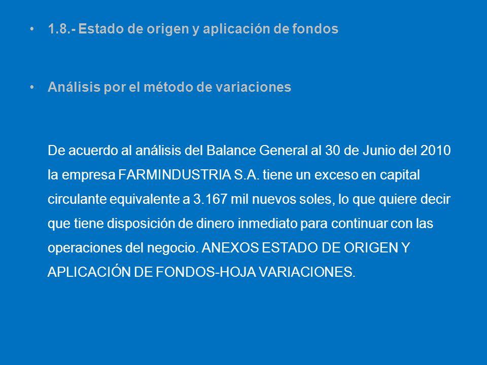 1.8.- Estado de origen y aplicación de fondos Análisis por el método de variaciones De acuerdo al análisis del Balance General al 30 de Junio del 2010