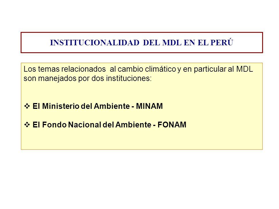 Los temas relacionados al cambio climático y en particular al MDL son manejados por dos instituciones: El Ministerio del Ambiente - MINAM El Fondo Nac