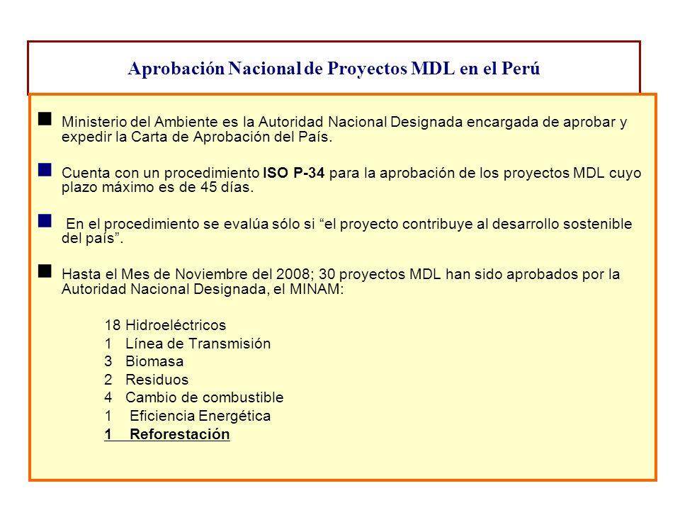 Aprobación Nacional de Proyectos MDL en el Perú Ministerio del Ambiente es la Autoridad Nacional Designada encargada de aprobar y expedir la Carta de