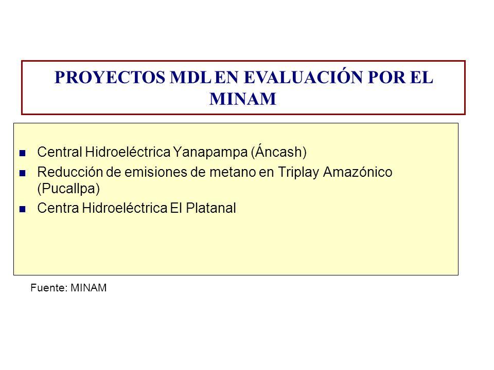 PROYECTOS MDL EN EVALUACIÓN POR EL MINAM Central Hidroeléctrica Yanapampa (Áncash) Reducción de emisiones de metano en Triplay Amazónico (Pucallpa) Ce