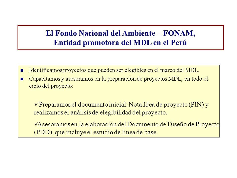El Fondo Nacional del Ambiente – FONAM, Entidad promotora del MDL en el Perú Identificamos proyectos que pueden ser elegibles en el marco del MDL. Cap