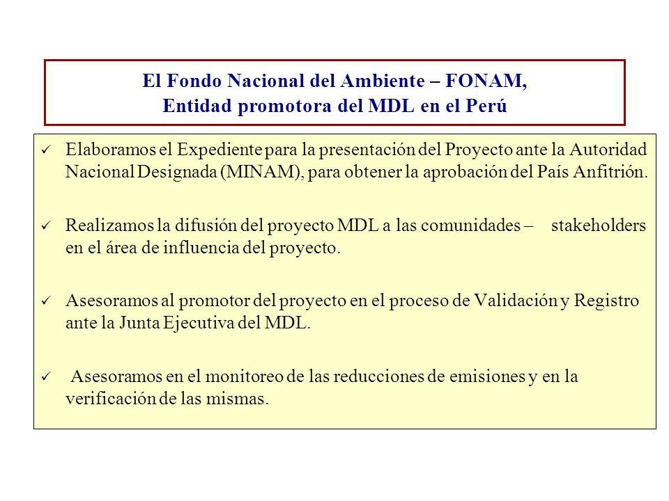 El Fondo Nacional del Ambiente – FONAM, Entidad promotora del MDL en el Perú Elaboramos el Expediente para la presentación del Proyecto ante la Autori