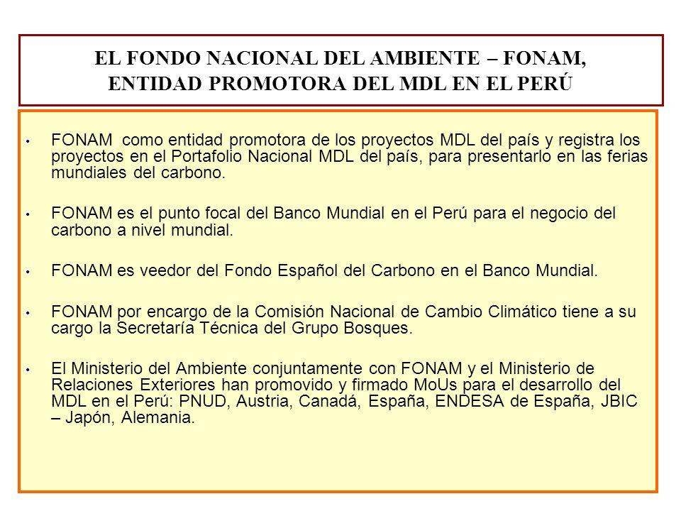 EL FONDO NACIONAL DEL AMBIENTE – FONAM, ENTIDAD PROMOTORA DEL MDL EN EL PERÚ FONAM como entidad promotora de los proyectos MDL del país y registra los