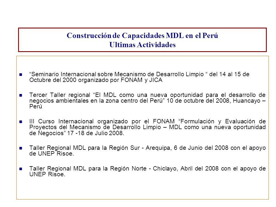 Seminario Internacional sobre Mecanismo de Desarrollo Limpio del 14 al 15 de Octubre del 2000 organizado por FONAM y JICA Tercer Taller regional El MD