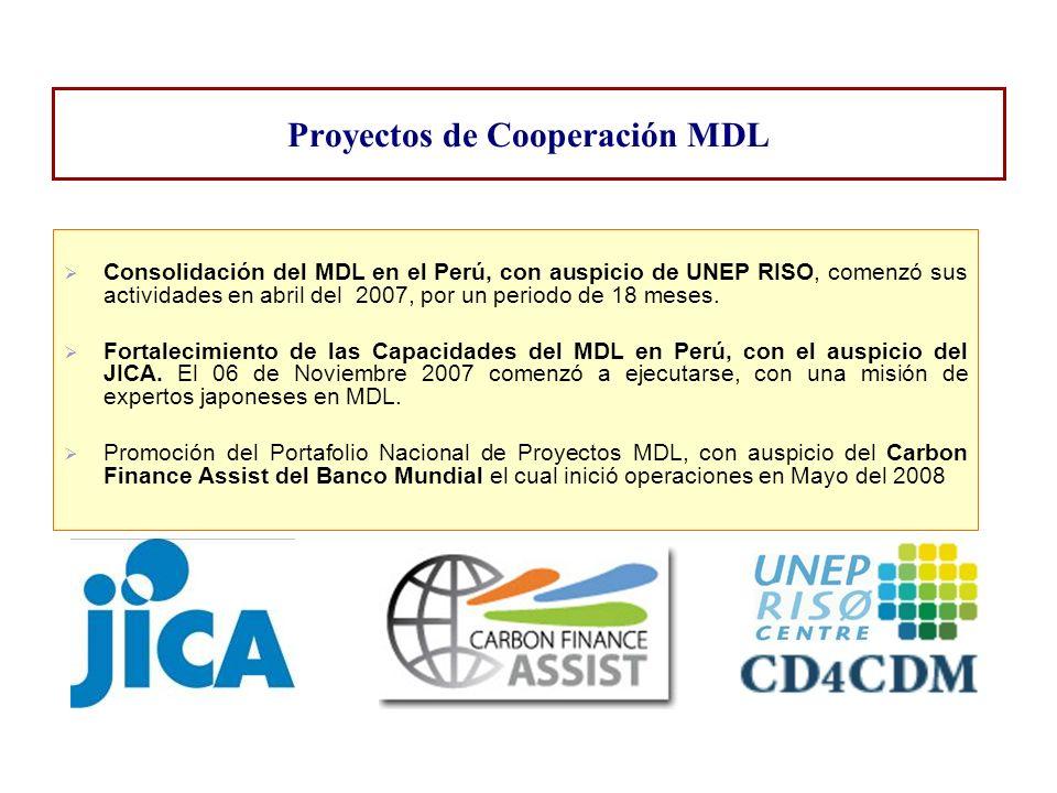 Consolidación del MDL en el Perú, con auspicio de UNEP RISO, comenzó sus actividades en abril del 2007, por un periodo de 18 meses. Fortalecimiento de