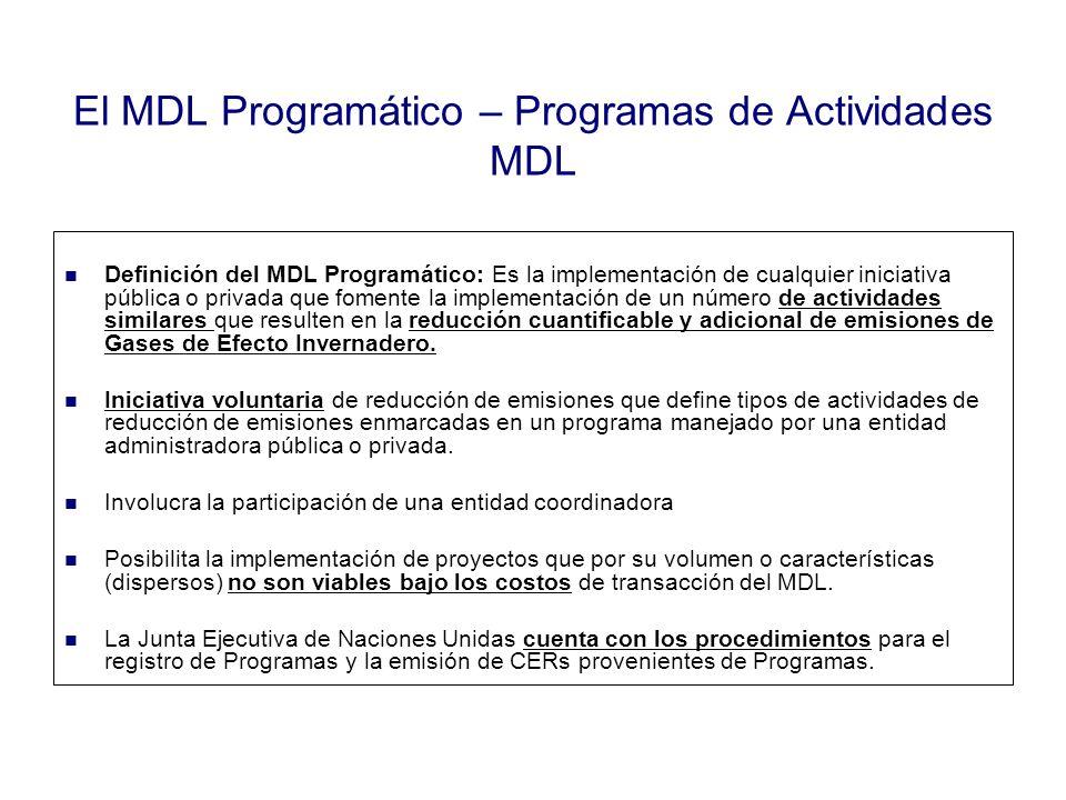 El MDL Programático – Programas de Actividades MDL Definición del MDL Programático: Es la implementación de cualquier iniciativa pública o privada que