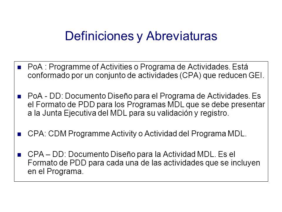 Definiciones y Abreviaturas PoA : Programme of Activities o Programa de Actividades. Está conformado por un conjunto de actividades (CPA) que reducen
