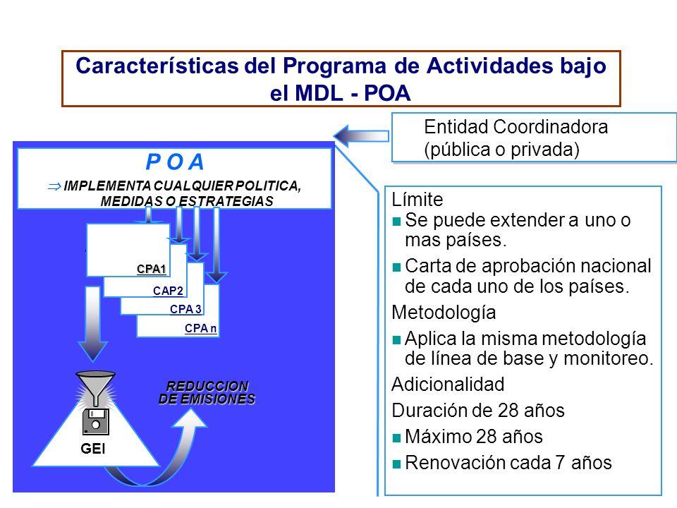 Características del Programa de Actividades bajo el MDL - POA Límite Se puede extender a uno o mas países. Carta de aprobación nacional de cada uno de