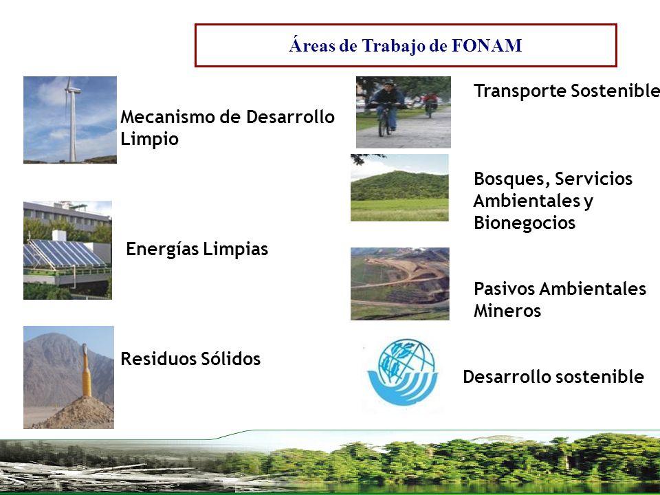 Transporte Sostenible Bosques, Servicios Ambientales y Bionegocios Pasivos Ambientales Mineros Desarrollo sostenible Mecanismo de Desarrollo Limpio En