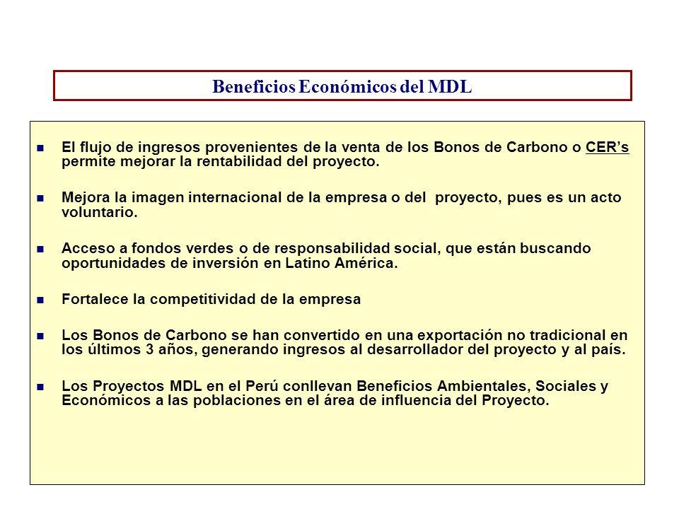 Beneficios Económicos del MDL El flujo de ingresos provenientes de la venta de los Bonos de Carbono o CERs permite mejorar la rentabilidad del proyect