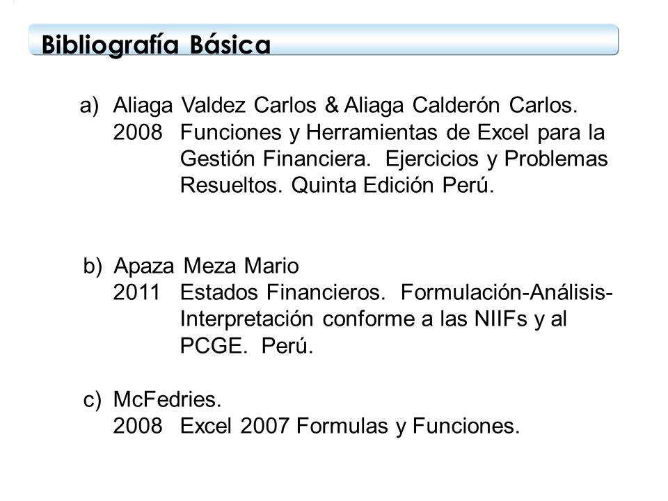 Bibliografía Básica a)Aliaga Valdez Carlos & Aliaga Calderón Carlos. 2008Funciones y Herramientas de Excel para la Gestión Financiera. Ejercicios y Pr