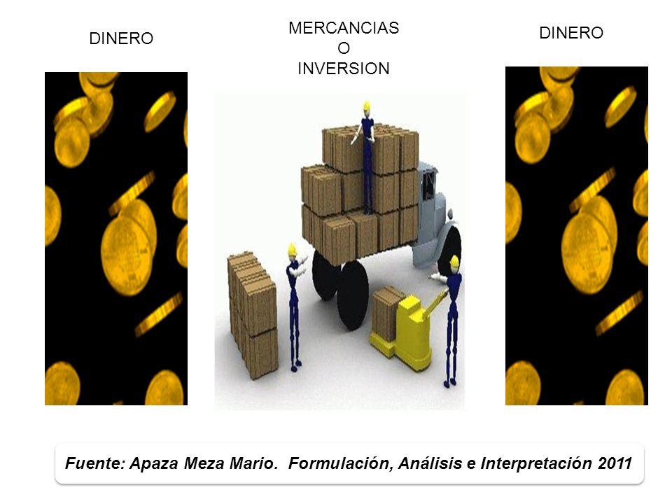 5 DINERO MERCANCIAS O INVERSION DINERO Fuente: Apaza Meza Mario. Formulación, Análisis e Interpretación 2011
