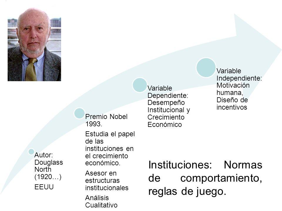 Autor: Douglass North (1920…) EEUU Premio Nobel 1993. Estudia el papel de las instituciones en el crecimiento económico. Asesor en estructuras institu