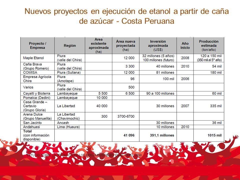Fuente: ESTUDIO SOBRE LA SITUACIÓN DE LOS BIOCOMBUSTIBLES EN EL PERÚ. 2008