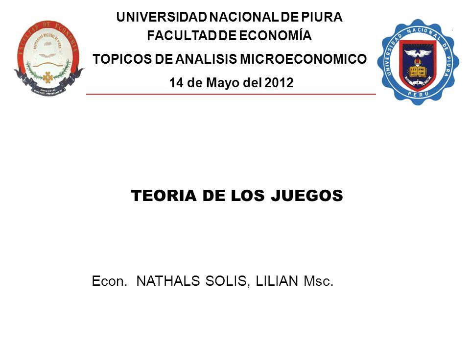 Econ. NATHALS SOLIS, LILIAN Msc. TEORIA DE LOS JUEGOS