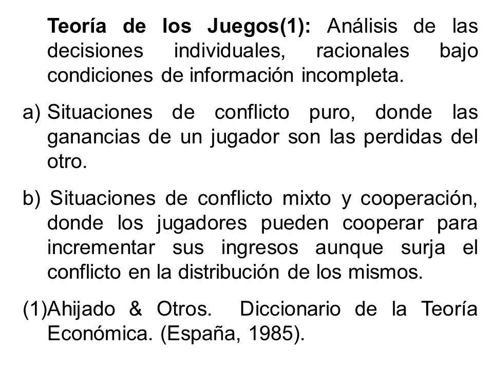 Teoría de los Juegos(1): Análisis de las decisiones individuales, racionales bajo condiciones de información incompleta. a)Situaciones de conflicto pu