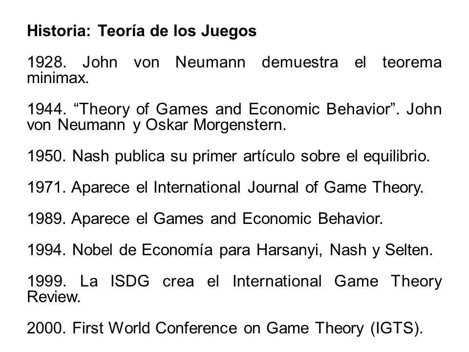 Historia: Teoría de los Juegos 1928. John von Neumann demuestra el teorema minimax. 1944. Theory of Games and Economic Behavior. John von Neumann y Os