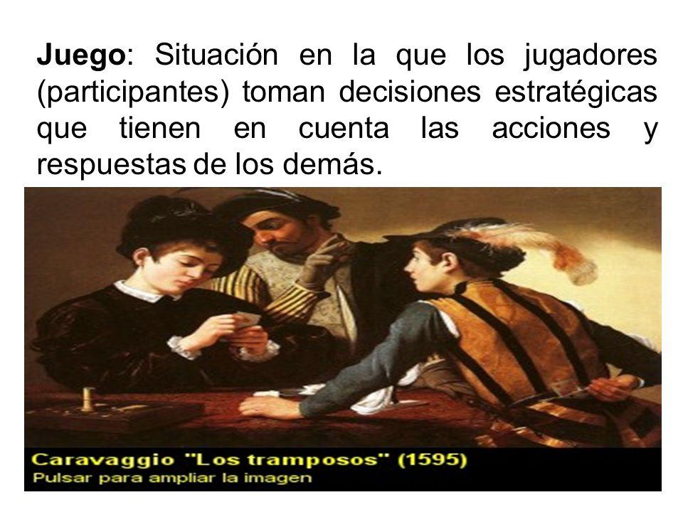 Juego: Situación en la que los jugadores (participantes) toman decisiones estratégicas que tienen en cuenta las acciones y respuestas de los demás.