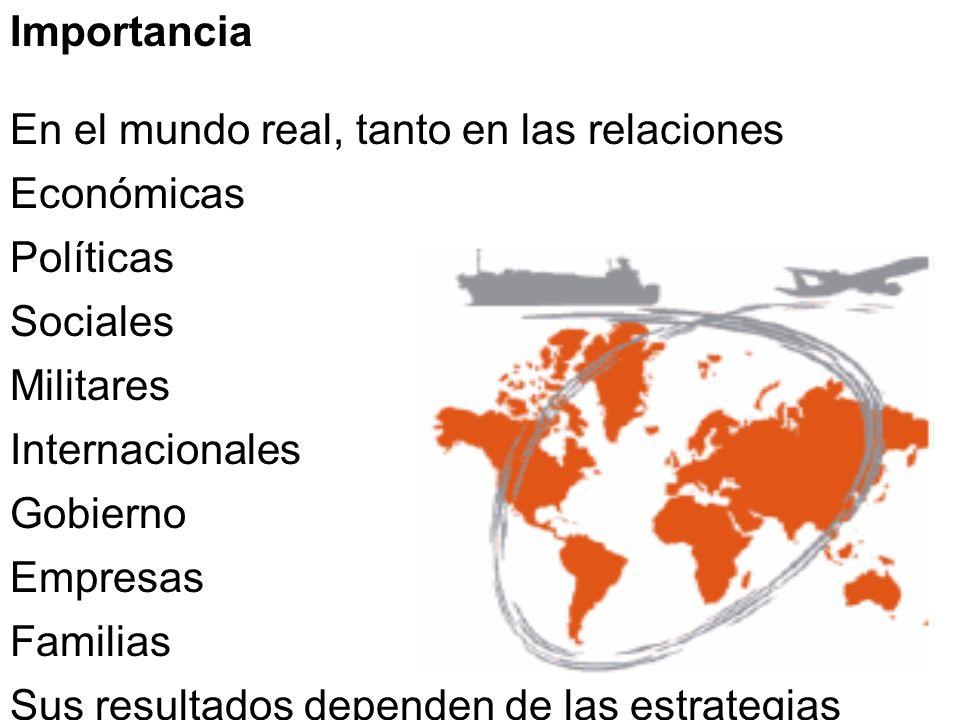 Importancia En el mundo real, tanto en las relaciones Económicas Políticas Sociales Militares Internacionales Gobierno Empresas Familias Sus resultado